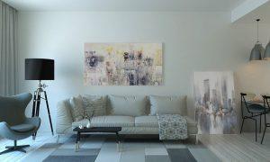 白いソファと壁掛けの絵