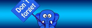 ゾウが持つ注意の看板