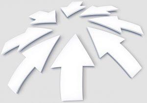 集まる白い矢印