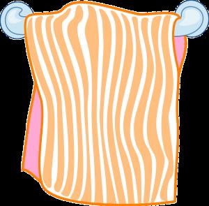 オレンジ色のバスタオルの絵