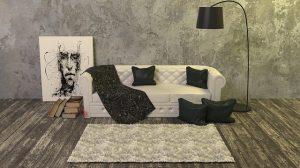 白いソファとラグ