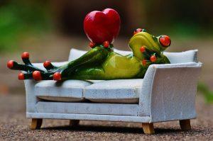 ソファーとカエルとりんご