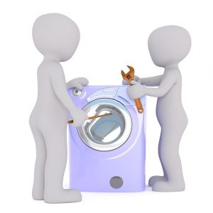 洗濯機を修理する絵