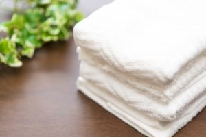 白いふわふわのタオル