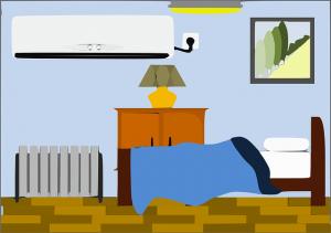 寝室のベッドとエアコン
